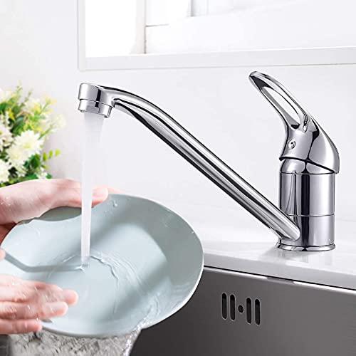 Dmore Wasserhahn Küche Armatur 360 ° Drehbar, Mischbatterie Küchenarmatur Edelstahl für Küche Bad Spüle, Spültischarmatur Chrom, Messing