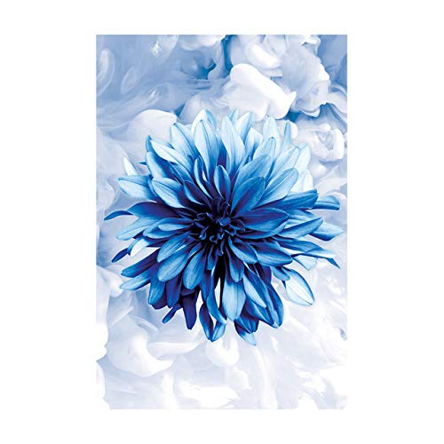 N / A Canvas Painting Decorated Elegant Blue Flower Phrase Poster For Modern Living Room Decoration Frameless 40X60CM