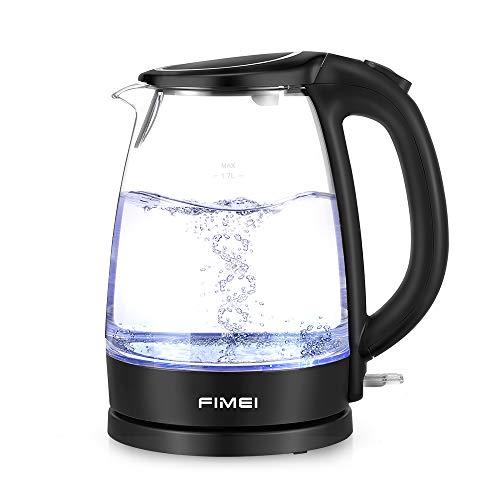 FIMEI Hervidor de Agua Electrico 1,7L, Hervidor de Cristal, Cierre Automatico Libre de BPA con LED 2200W, Sistema de Proteccion contra la Ebullicion en Seco, Ebullicion Rapida y Silenciosa