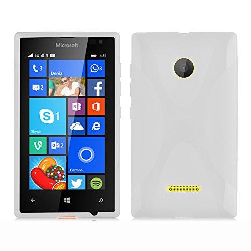 Cadorabo Hülle für Nokia Lumia 435 in HALB TRANSPARENT – Handyhülle aus flexiblem TPU Silikon – Silikonhülle Schutzhülle Ultra Slim Soft Back Cover Hülle Bumper