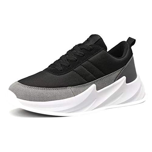 CLYMB Casual Shoes Men Shark Design Bottom Platform Sneakers Men Mesh Breathable Shoes Male Mixed Colors Trainers Shoes for Mens (Black Grey, Numeric_8)
