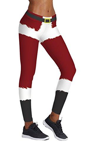 COCOLEGGINGS Ladys Christmas Pattern Yoga Pants Skinny Leggings (S/M)