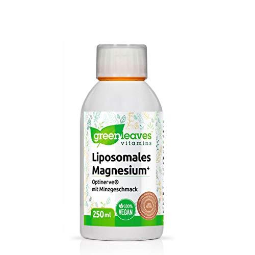 Greenleaves Vitamins - Liposomales Magnesium Plus Optinerve 250ml höhe Bioverfügbarkeit. 100% Vegan. Frei von Gluten, Soja und Geschmacksstoffen