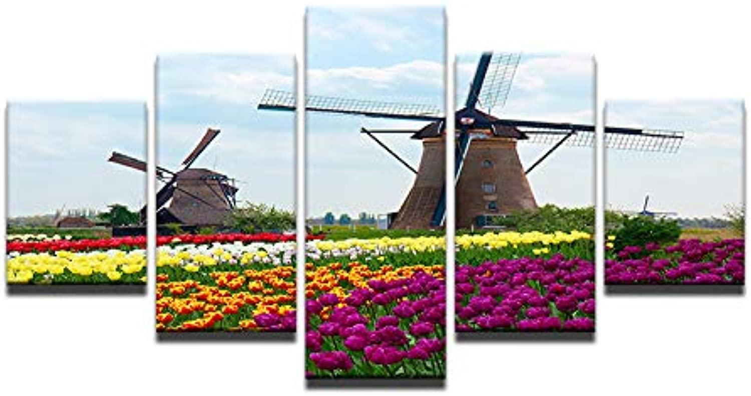 5 Panels Frame Picture Modular Wall Picture Art Painting Tulips Windmill Print on Canvas Paintings Posters for Living Room
