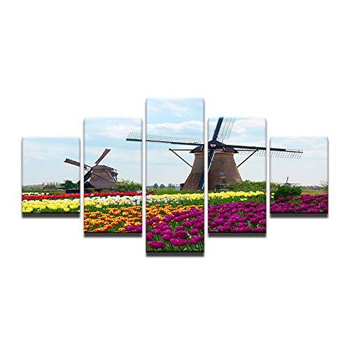 Gbwzz 5-delige schilderij op canvas met 5 panelen, muurschildering, kunst, tulpen, windmolen, druk op canvas, ansichtkaarten voor woonkamer No Frame 40x60 40x80 40x100 cm