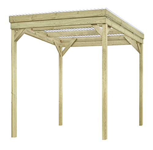 Mega Holz Unterstand 203x199 cm aus massiver Kiefer - Überdachung für Fahrrad + Motorrad, Gartengeräte oder Kaminholz