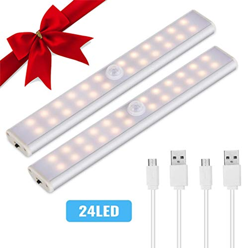 Lacyie Schrankleuchten 24 LEDs Schrankleuchte mit Bewegungsmelder USB Kabellosen Wiederaufladbare 3 Modi Auto On/Off Magnetisch Schranklampe für Garderobe Innen Warm 2 Stück