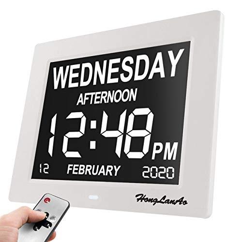 Reloj Calendario Actualización Con Función de Alarma Honglanao 8' Digital Calendario Día Reloj No Abreviatura de Letras Reloj Digital Avanzado Para Los Pacientes de Alzheimer (Blanco)
