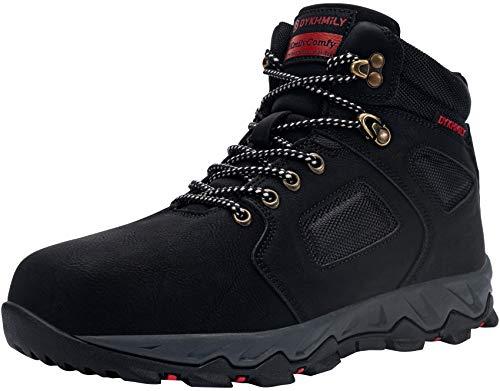 Botas de Seguridad Hombres Botas de Trabajo Zapatos de Seguridad Puntera de Acero Sra Calzado de Trabajo(Brillante Negro,42)