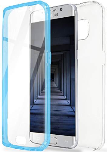 OneFlow Funda Doble [Delantera y Trasera] de Silicona Compatible con Samsung Galaxy S6 Edge   Bleu