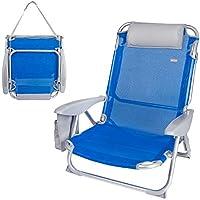 AKTIVE 62609 Silla de Playa Plegable 4 Posiciones 67x67x76 cm Camping