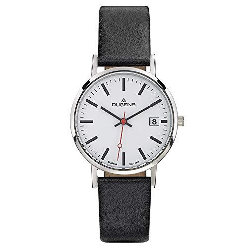 Dugena Herren Quarz-Armbanduhr, Bahnhofsuhr Design, Lederarmband, Moma, Schwarz/Silber, 4460339