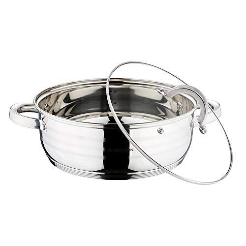 BLAUMANN BL-1001 Pentola Bassa da 20 cm con Coperchio - Linea Gourmet Adatta a Tutti I Piani Cottura, Anche in Forno