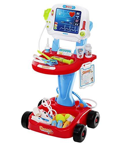 ISO TRADE Set de Juguetes Médicos Pequeño Doctor Accesorios Pequeño Doctor 18 Piezas Sonido Luz Carro para Niños Niño 6114