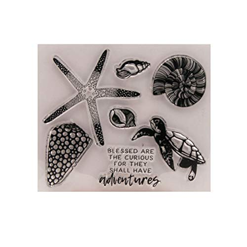 4.7 by 4.1 Inches Sea Animals Starfish Tortoise Screw Clear Rubber Stamps for Scrapbooking Card Making Halloween Easter Stamps