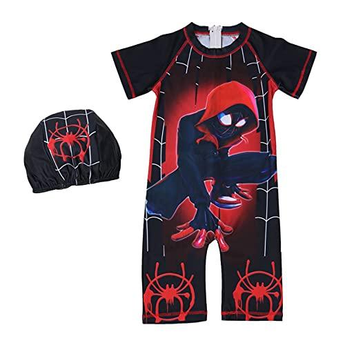 MYYLY Avenger Boy Spider Man Deux Pièces Maillot De Bain Cosplay Maillots Été Plage Enfants Athlétique Kid Back Zip Sports Surf Costume,Black-XS Kids (100~110CM)