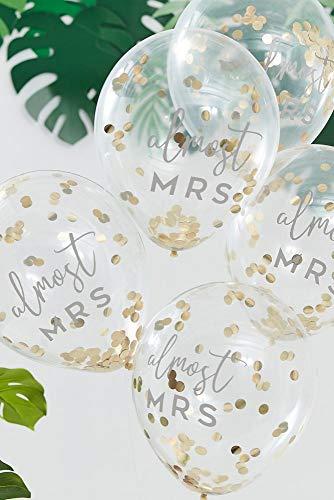 David's Bridal Almost Mrs Confetti Balloon Set Style BS-419, Gold