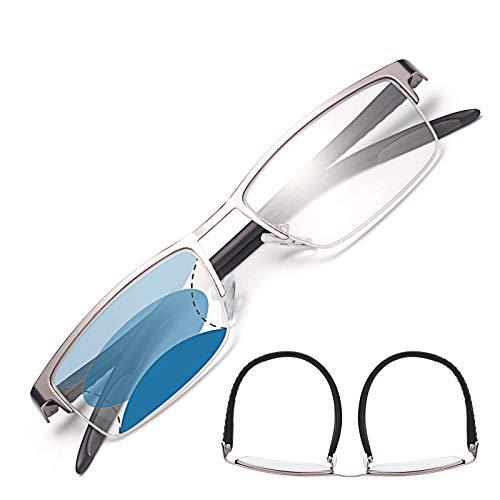 JIMMY ORANGE遠近両用老眼鏡 NEW累進多焦点 ブルーライトカット メンズ レディース おしゃれ 軽いリーディンググラス 5106G (グレー_改良版, 2.50)