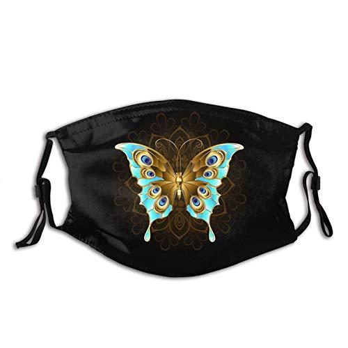 Pasamontañas de noche con mariposa, lavable y reutilizable con filtros, para adultos y mujeres, hombres y adolescentes