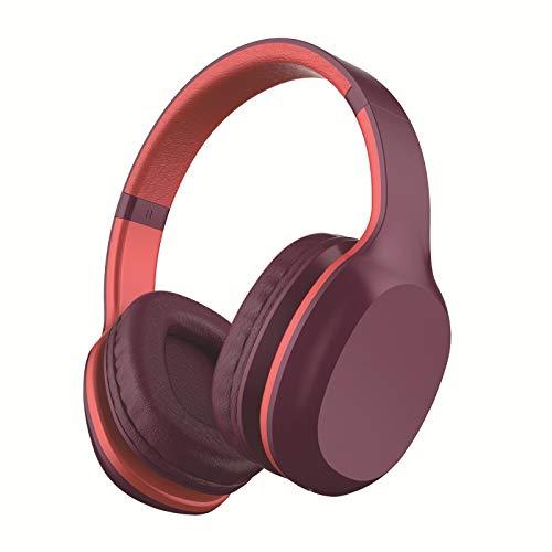 LIMTT 5.0 Bluetooth-Kopfhörer, Kabelloses Over-Ear-Headset Mit Hi-Fi-Tiefenbass, Weiche Protein-Ohrpolster Mit Steckbarer TF-Kartenfunktion Für Die Reise Mit Dem Handy 2-Teilig lila
