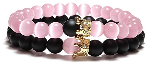 HAOKTSB Stein Armband Frauen, 7 Chakra natürliche steinperlen rosa Opal elastische armreif Krone schmuck Yoga Energie armbänder beten Charm Diffuser Geschenk für Steinarmband