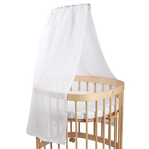 tweeto Babybett Himmel - Weiß - Betthimmel - 100% LEINEN - atmungsaktiv - Kinderbett-Himmel