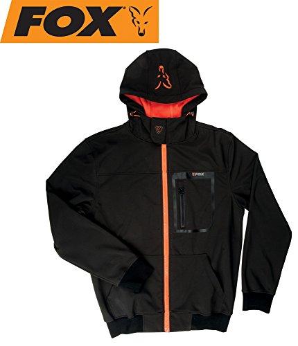 Fox Black/Orange Softshell Hoodie Angeljacke, Anglerjacke, Softshelljacke, wasserdicht & atmungsaktiv, Jacke für Angler, Größe:XXL