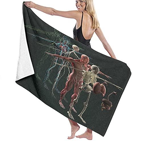 Toalla de Playa de Microfibra de Gran tamaño,Anatomía Humana Vista Desglosada Deconstruid,Toalla de baño Absorbente Suave y Ligera para Nadar, Deportes, Piscina, Gimnasio, Camping (52 × 32 Pulgadas)