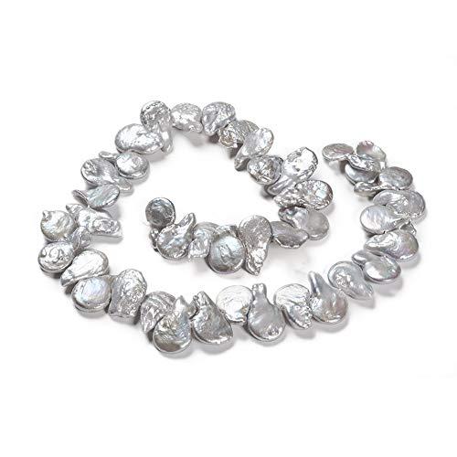 1 hebra lágrima natural Keshi perlas cultivadas perlas de agua dulce perlas sueltas de color gris claro 12 ~ 16 mm para pendientes de joyería alrededor de 46 ~ 50 piezas/hebra