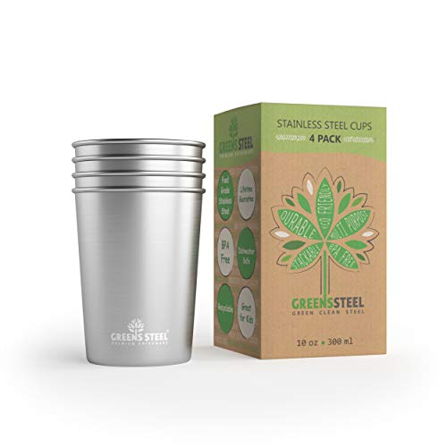 Greens Steel Taza de Acero Inoxidable de 10 oz/300ml (Paquete de 4) Vasos Copas de Metal Tumbler Apilables Premium