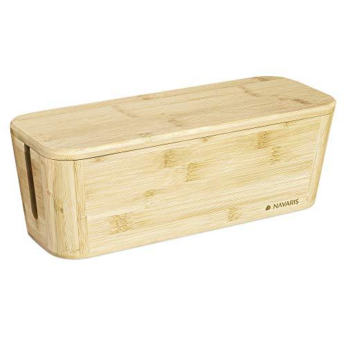 Navaris Bambus Kabelbox mit Deckel - Organizer für Kabel 32x12x11cm - Kabeldose Ordnung - Box Kabelaufbewahrung Schreibtisch PC TV - Kabelsammler