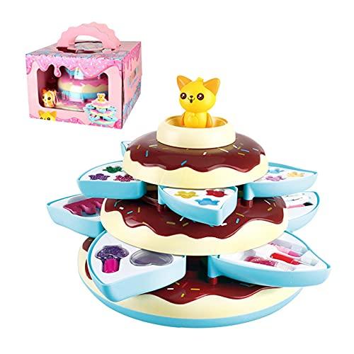 Set de maquillaje para niños con 3 niveles, caja de donuts Girl Pretend Play Toy, maquillaje para niños