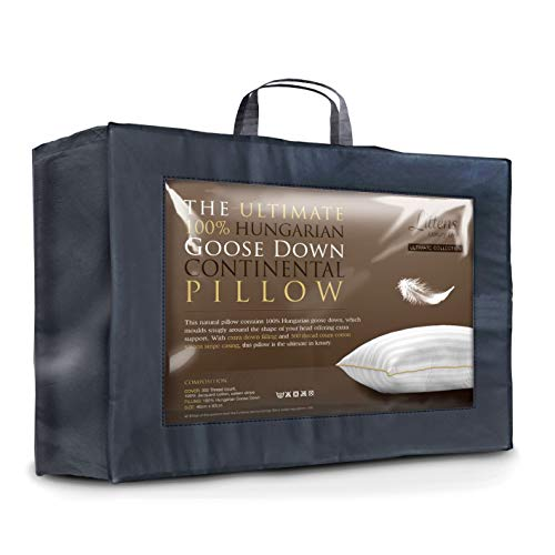 European Continental 40cm x 80cm Ultimate Collection 100% Hungarian Goose Down Pillow 300TC 100% Cotton Jacquard Casing, Down Proof, Gold Piping (16' x 32') By Littens