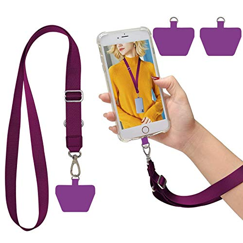 SS Cell Phone Lanyard, Cell Phone Lanyard Strap Adjustable Wrist Lanyard for Running Universal for All Smartphones and Case Combinations-Purple
