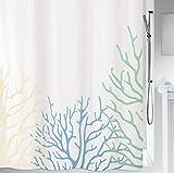 Spirella 10.18468 Textil Coral Acqua, 180X200 cm Duschvorhang, Polyester, Aqua/Sand, 180 x 200 cm