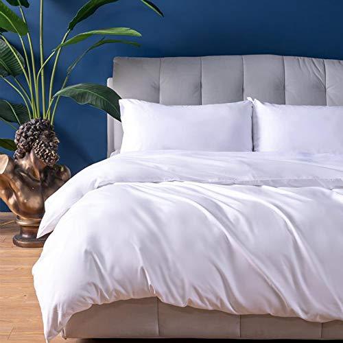 SOULFUL Duvet Cover Bedding Set - Microfibre Polyester Duvet Cover Set Double Size 3PCS, Plain Quilt Cover Set with Concealed Zipper and Pillowcases (200x200cm, White)