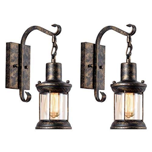Wandlampe Antik Wandleuchte Vintage Metall Wandlampe Retro Glas Wandlampe Innen für Lanhaus, Dachboden, Terrasse, Restaurant, Café, Wohnzimmer und Studie (Bronze 2 Packs)