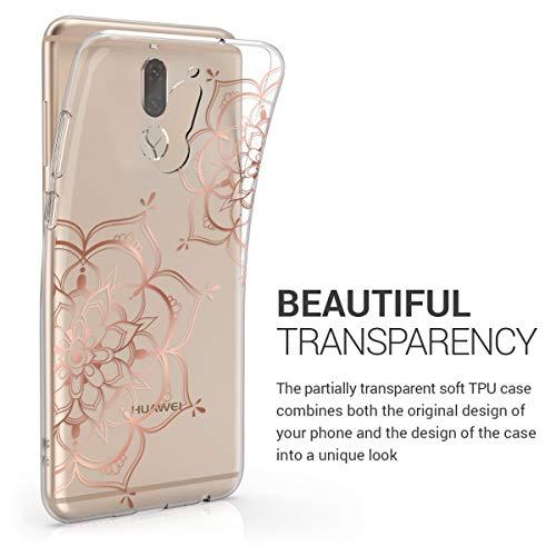 kwmobile Huawei Mate 10 Lite Hülle - Handyhülle für Huawei Mate 10 Lite - Handy Case in Blumen Zwillinge Design Rosegold Transparent - 2