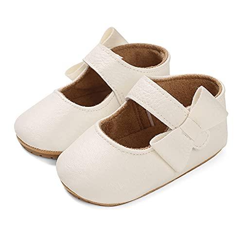 LACOFIA Baby Mädchen Ballerina Kleinkind Bowknot Prinzessin Mary Jane Taufschuhe Baby rutschfeste Lauflernschuhe Weiß 3-6 Monate