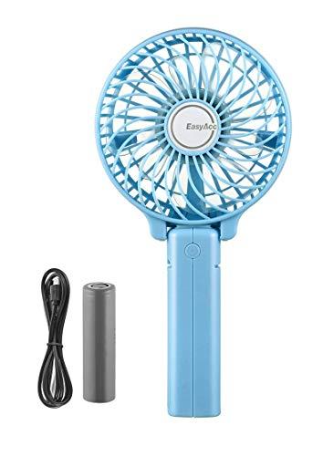 EasyAcc Handventilator Tragbarer Mini Lüfter Elektrischer USB Ventilator mit Aufladbarem 2600mAh Batterie Faltbar Kompatibel mit Laptop, Multi Port Steckdose für Reisen und Zuhause - Blau