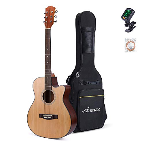 Asmuse40 Zoll Akustik-gitarre Anfänger Set mit eine dicke Gittarentasche