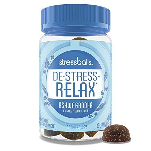 Stressballs, De-Stress + Relax, with Ashwagandha for Stress Relief*, Ginseng & Lemon Balm Herbal Blend, Non-Drowsy Supplement, 46 Gummies