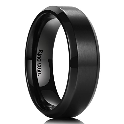 King Will Mens 7MM Black Titanium Ring Brushed Matte Finish Comfort Fit Wedding Band (7)