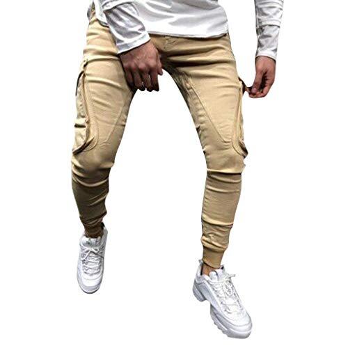 Crazboy Mode Männer schlank Reine Farbe lässig Sport gewebt Pocket Feet Pants(XXX-Large,Khaki-F)