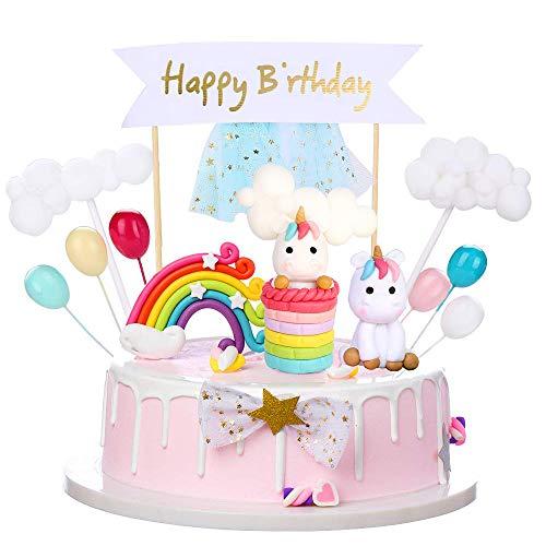 Cake Topper Unicornio, 16 Piezas Decoracion Tartas Cumpleaños con BanderaFelizCumpleañosconGlobosArcoIrisNube, personalizado Unicornio Cake Topper para Niñas Niños Fiesta de Cumpleaños