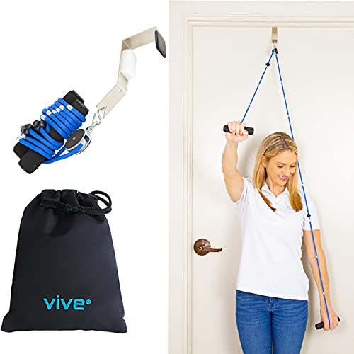 Vive Shoulder Pulley - Over Door Rehab Exerciser for Rotator Cuff Recovery - Arm Rehabilitation Exercise System for Frozen Physical Therapy, Flexibility Stretching Strengthener, Range of Motion