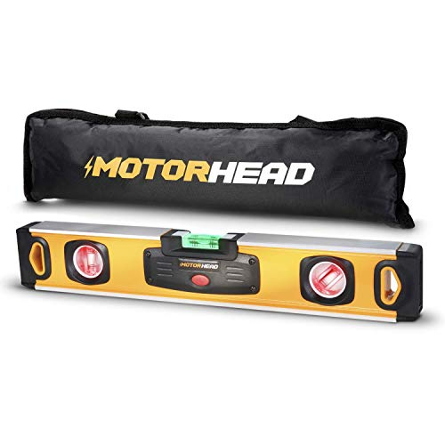 MOTORHEAD 16-Inch 0°, 45° & 90° Degree LED Torpedo Level, Water, Dust & Shock Resistant, Magnetic Bottom, Includes Bag, High-Visibility, Solid Milled Aluminum, USA-Based Support