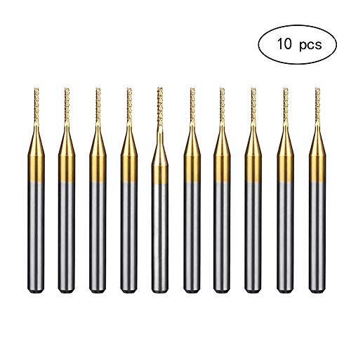 HUHAO Corn End Mill 0.9mm Tip PCB Carbide Titanium Coated 1/8 Inch Shank Engraving Edge Milling Cutter 10Pcs