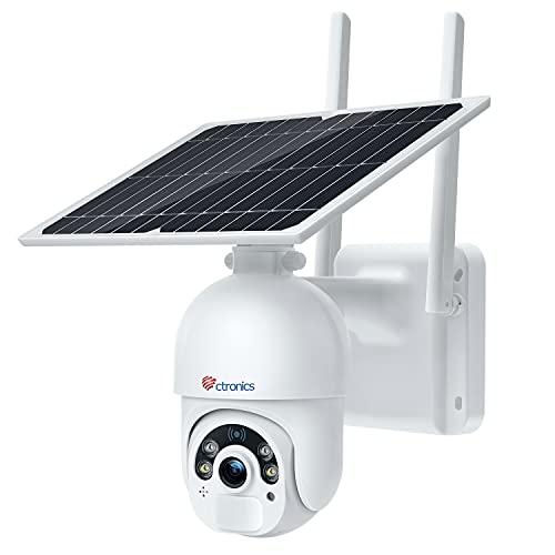 Ctronics Überwachungskamera Aussen 15000mAh Akku, 100% Kabellos PTZ Digitaler Zoom Kamera mit Solarpanel, WLAN IP Kamera Outdoor, PIR und Radar Erkennung, Farb-Nachtsicht, 2-Wege-Audio, SD-Kartenslot