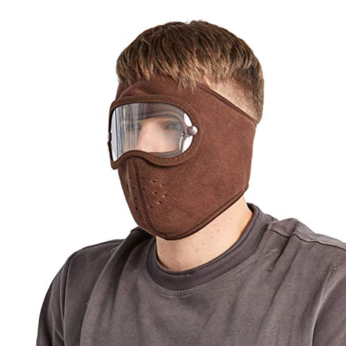 Goggles Warm Mask,Anti-Fog Dust-Proof Full Face Protection Headgear with Removable Goggles (marrón)